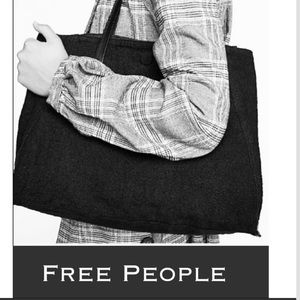 Auth Free People reversible black tote bag purse